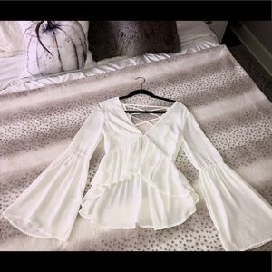 White bell sleeve party top